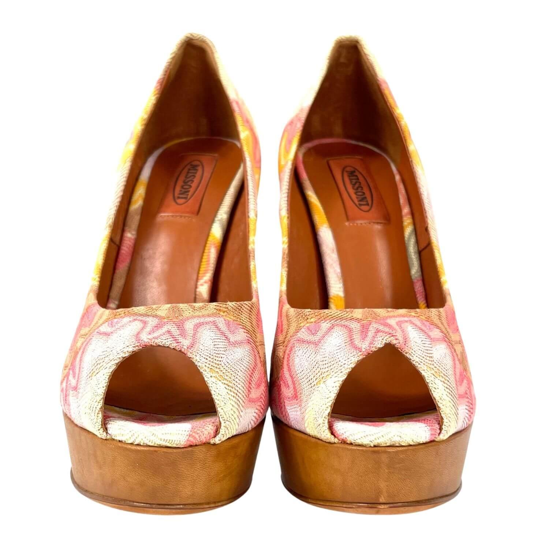 Sapato Peep Toe Missoni Estampado Colorido