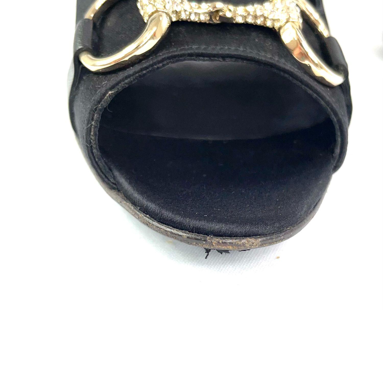 Sapato Peep Toe Gucci Horsebit Cetim