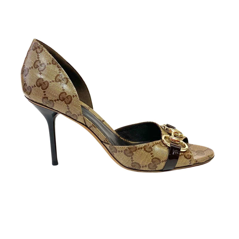 Sapato Peep Toe Gucci Horsebit Monograma