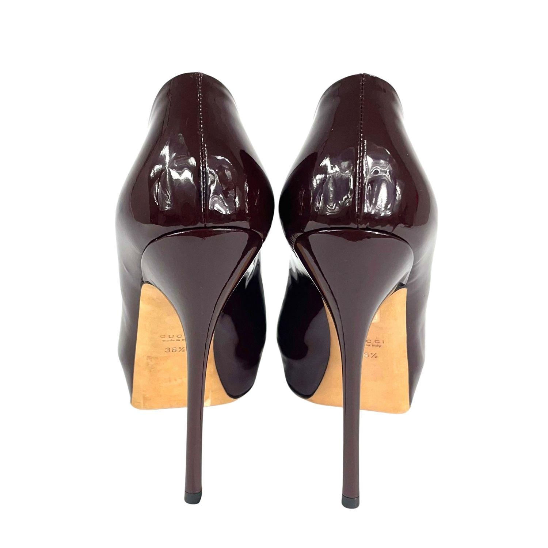 Sapato Peep Toe Gucci Verniz