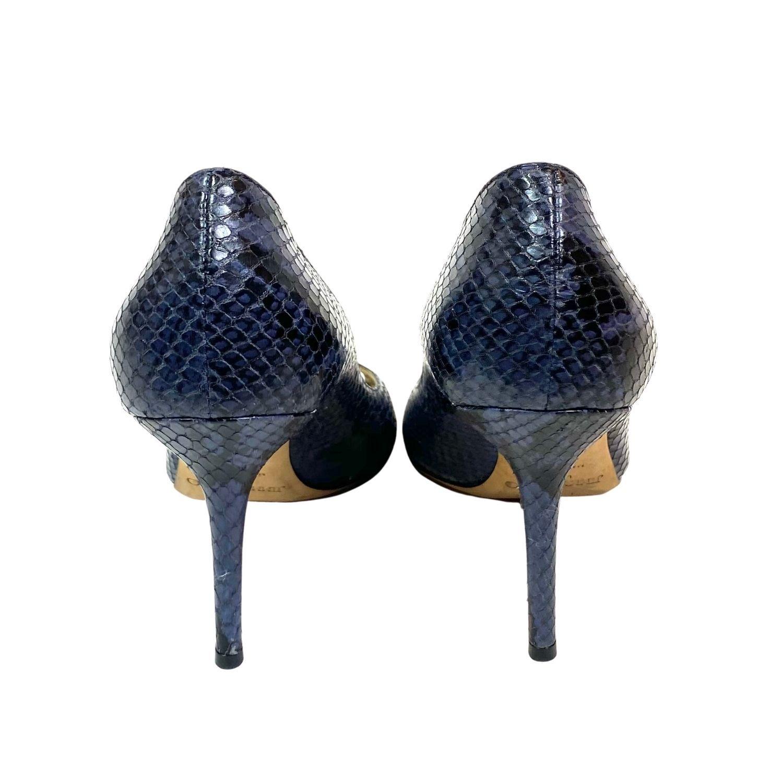 Sapato Peep Toe Jimmy Choo Snake Azul