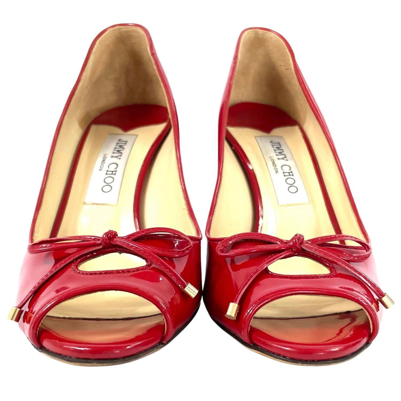 Sapato Peep Toe Jimmy Choo Verniz Vermelho