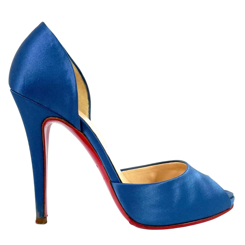 Sapato Peep Toe Louboutin Cetim Azul