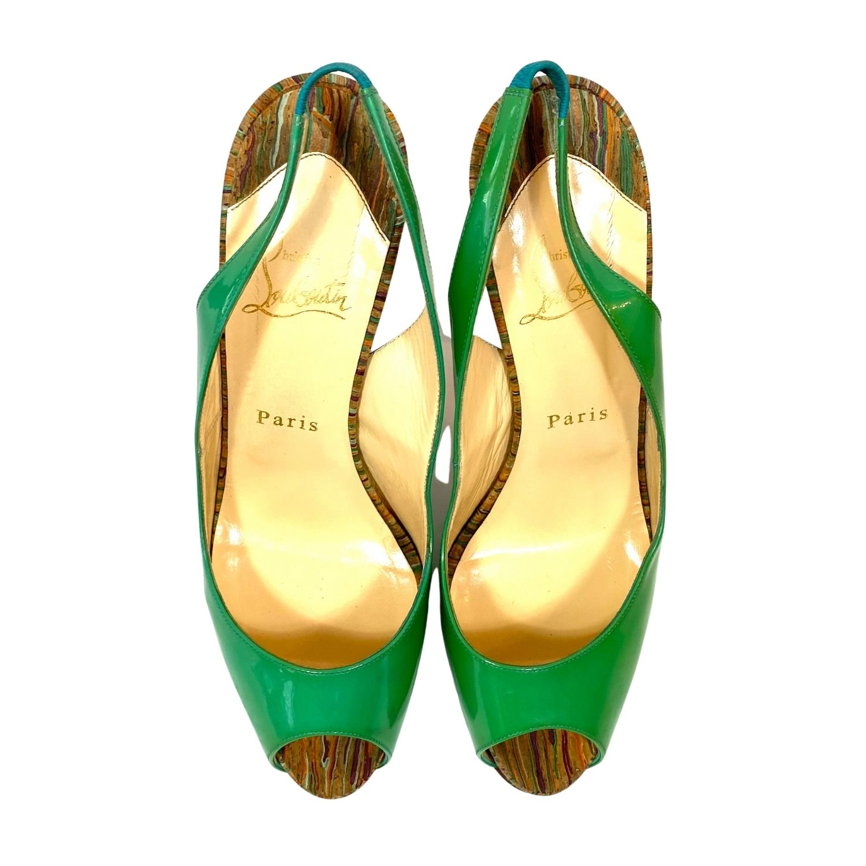 Sapato Peep Toe Louboutin Slingback Pump Verde