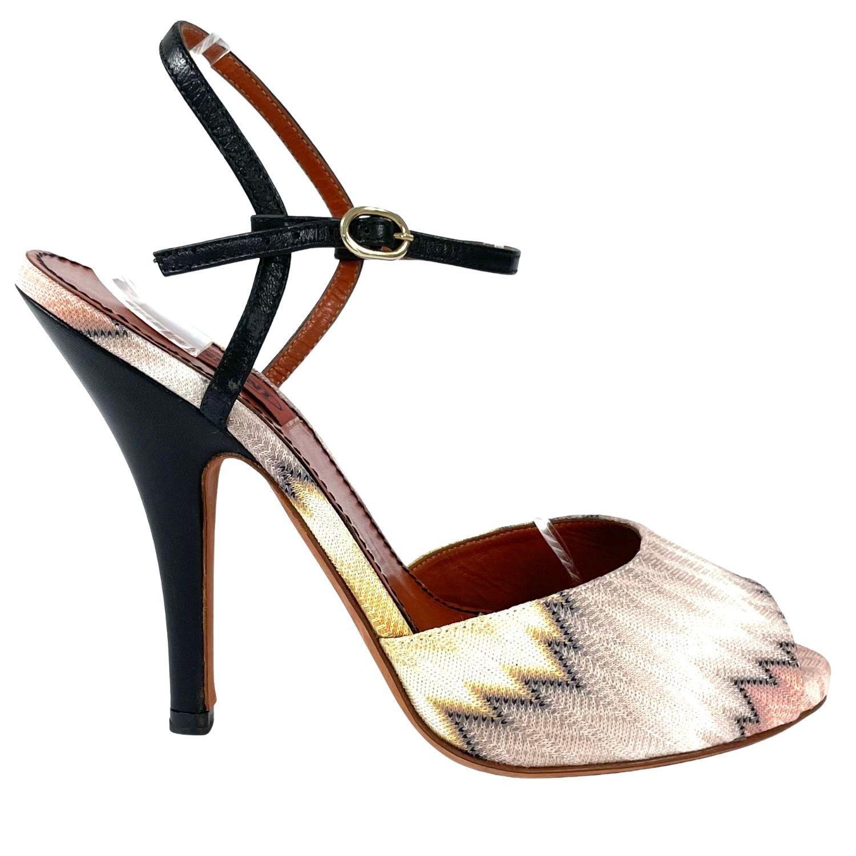 Sapato Peep Toe Missoni Chevron Colorido