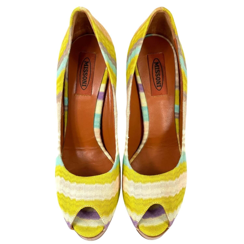 Sapato Peep Toe Missoni Colorido