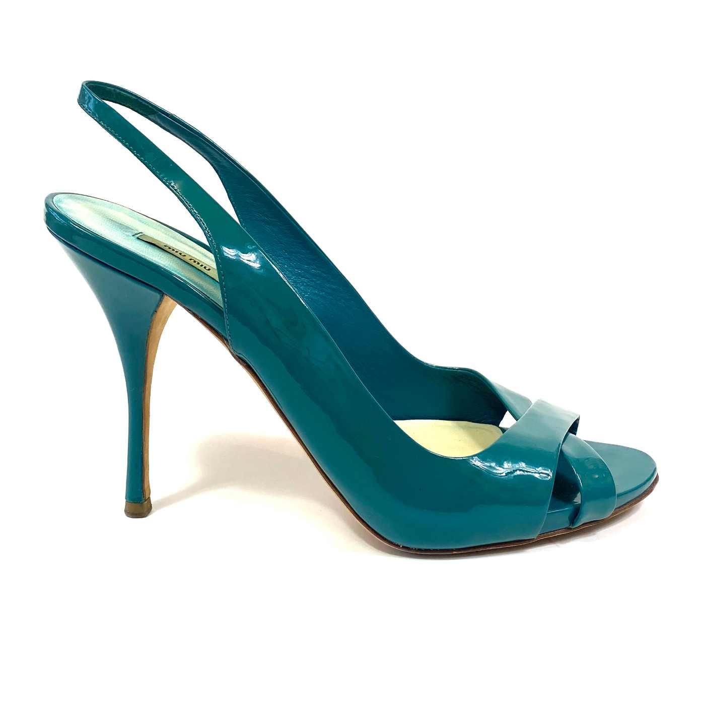 Sapato Peep Toe Miu Miu Verniz Turquesa