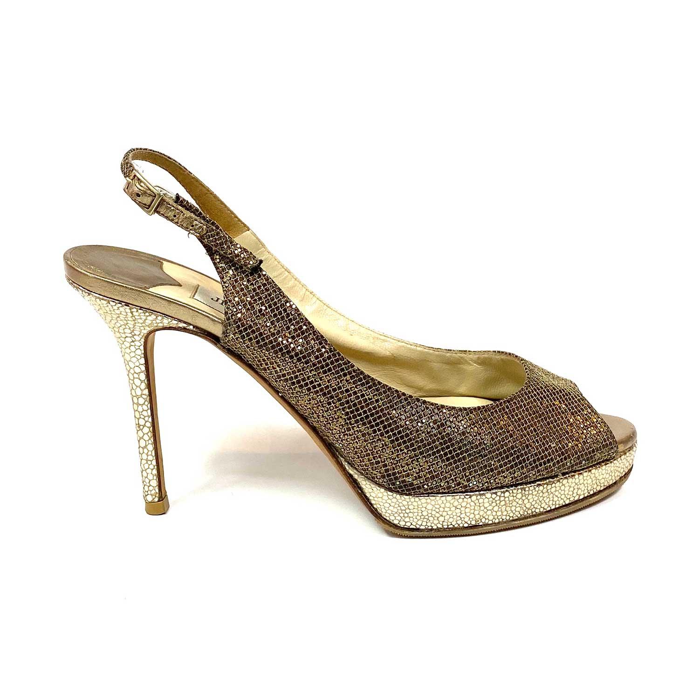 Sapato Peeptoe Jimmy Choo Dourado