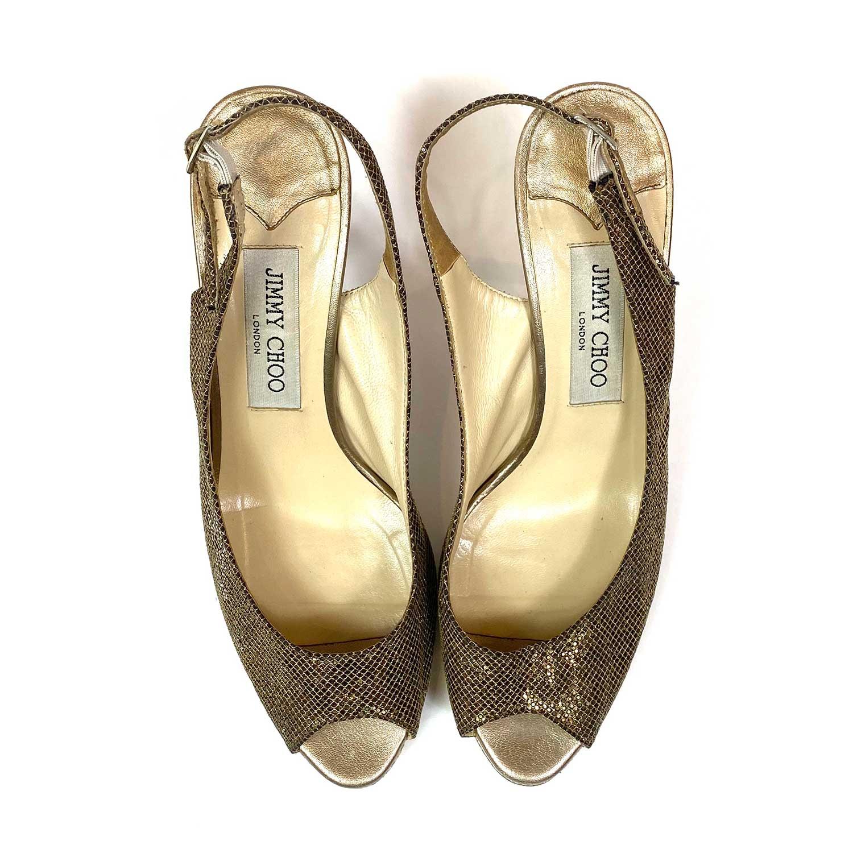 Sapato Peep Toe Jimmy Choo Dourado