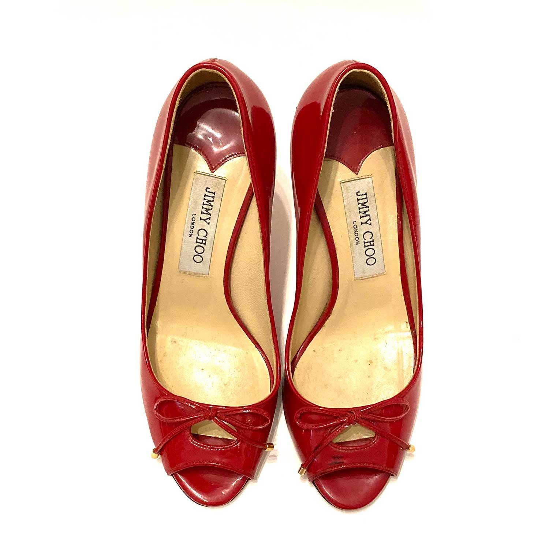 Sapato Peeptoe Jimmy Choo Verniz Vermelho