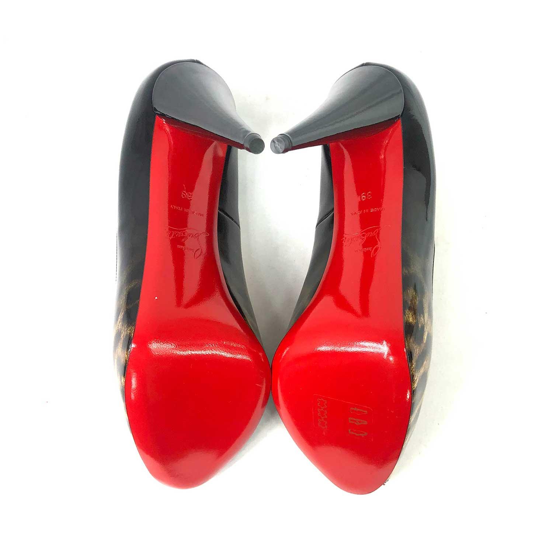 Sapato Peeptoe Louboutin Verniz Onça