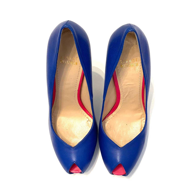 Sapato Peeptoe Stuart Weitzman Azul