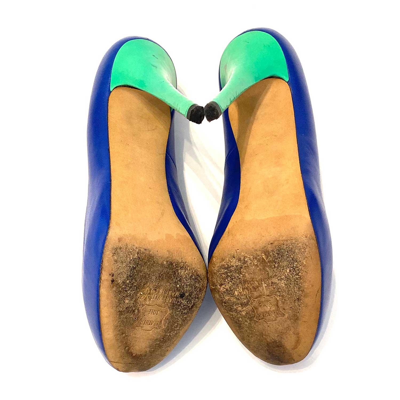 Sapato Peep Toe Stuart Weitzman Azul