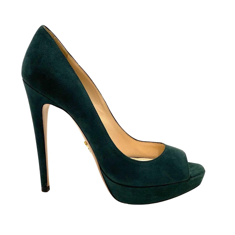 Sapato Prada Peeptoe Camurça Verde