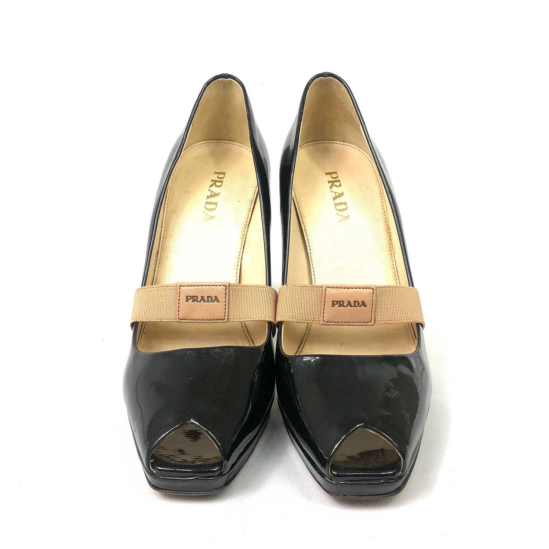 Sapato Prada Peeptoe Preto Verniz
