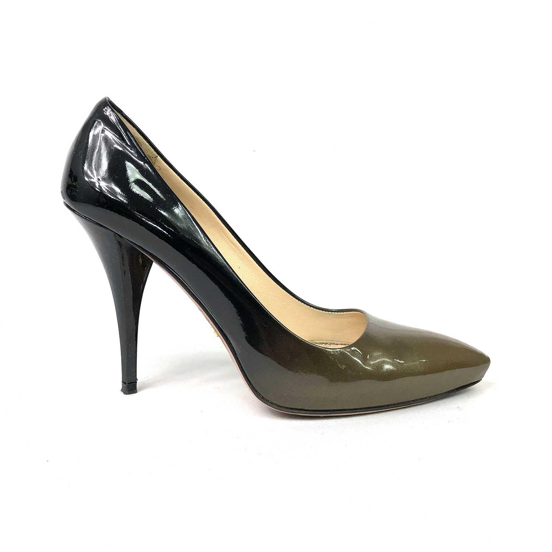 Sapato Prada Verniz Degradê Preto e Verde