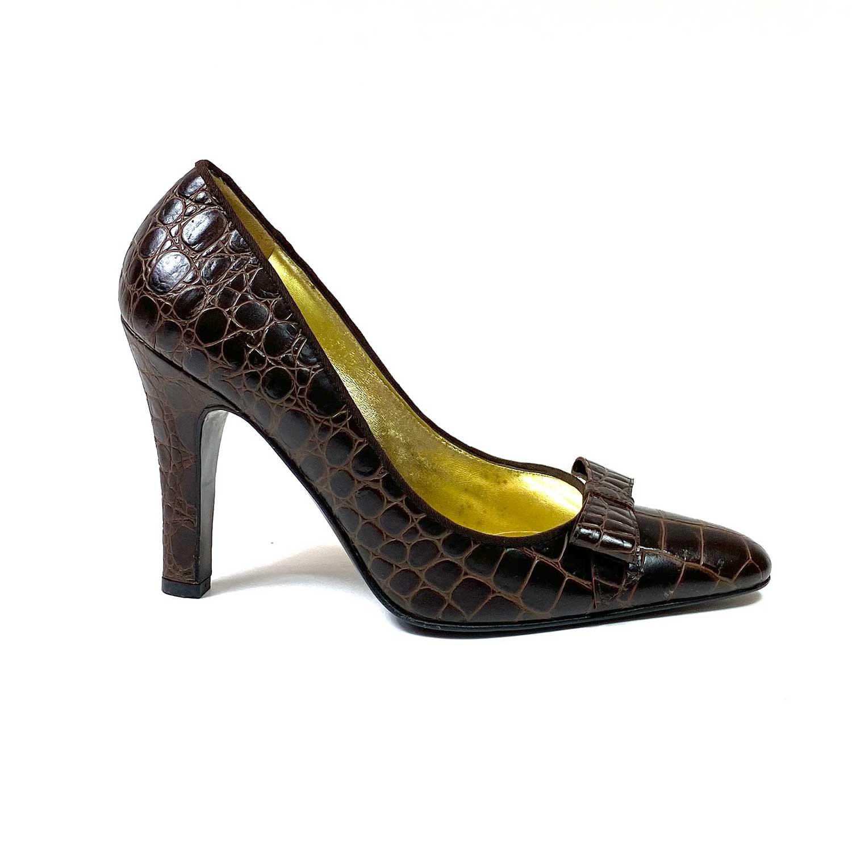 Sapato Scarpin Dolce & Gabbana Marrom Croco
