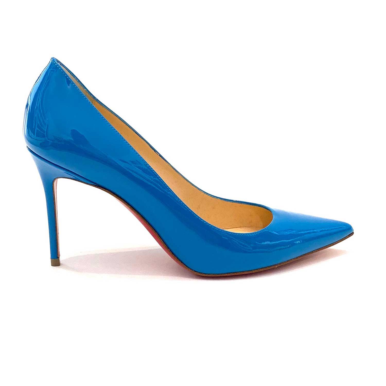 Sapato Scarpin Louboutin SoKate Pumps Verniz Azul