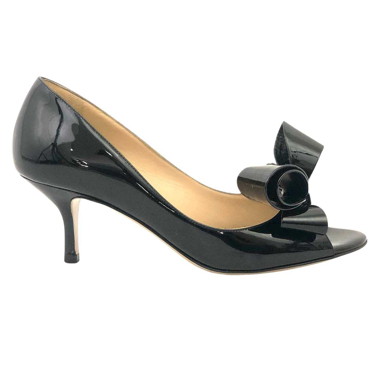 Sapato Valentino Peeptoe Laço Preto Verniz