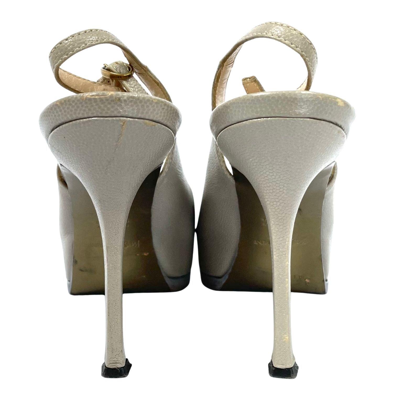 Sapato YSL Peep Toe Cinza