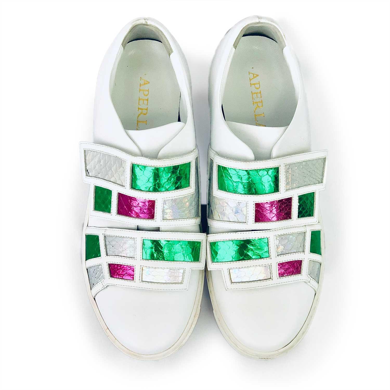 Tênis Aperlai Branco Verde e Pink