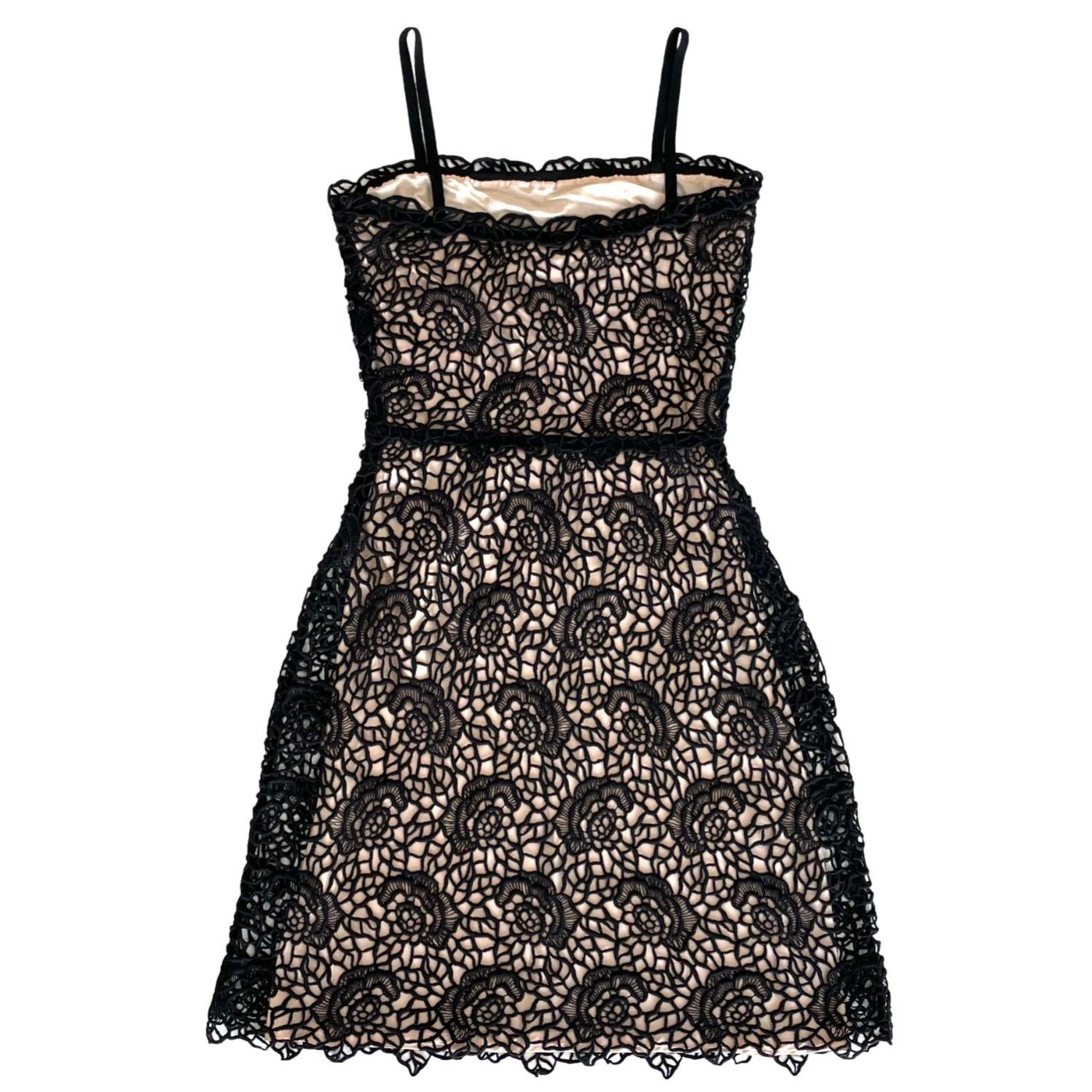 Vestido Dior Flores Renda Preto