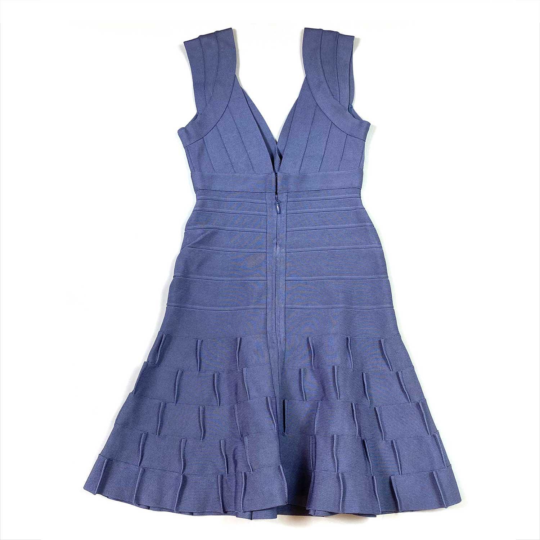 Vestido Herve Leger Bandagem Evasê Azul