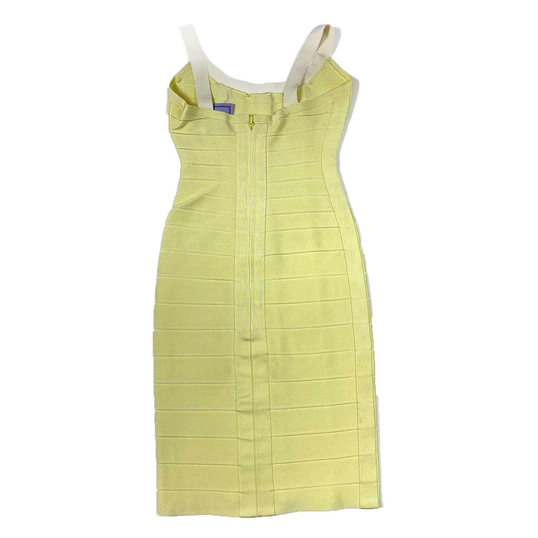 Vestido Herve Leger Bandagem Slim Amarelo e Branco