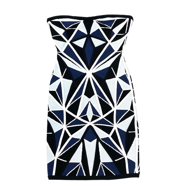 Vestido Herve Leger Bandagem Slim Geometrico Azul