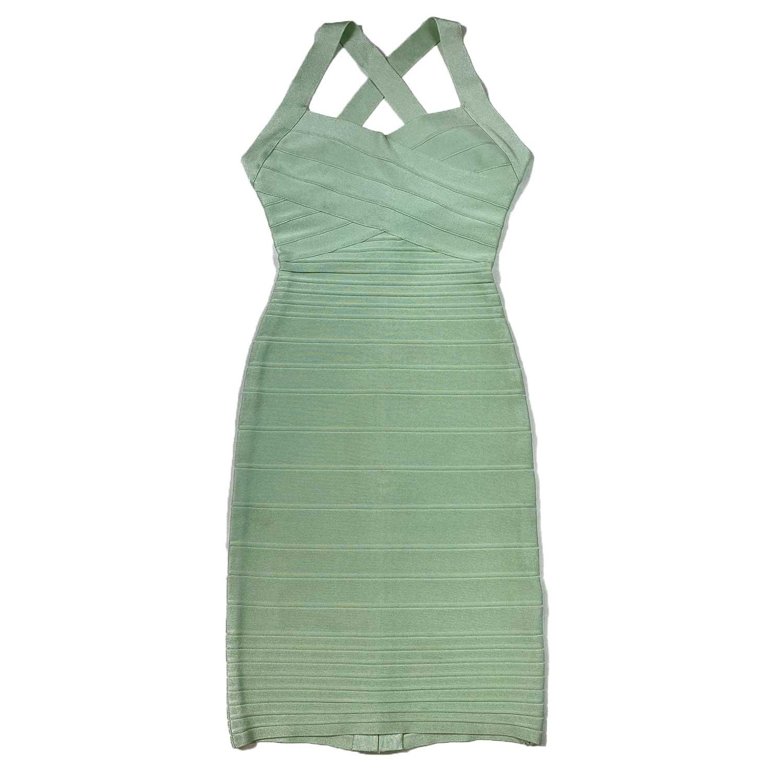 Vestido Herve Leger Bandagem Slim Verde Agua