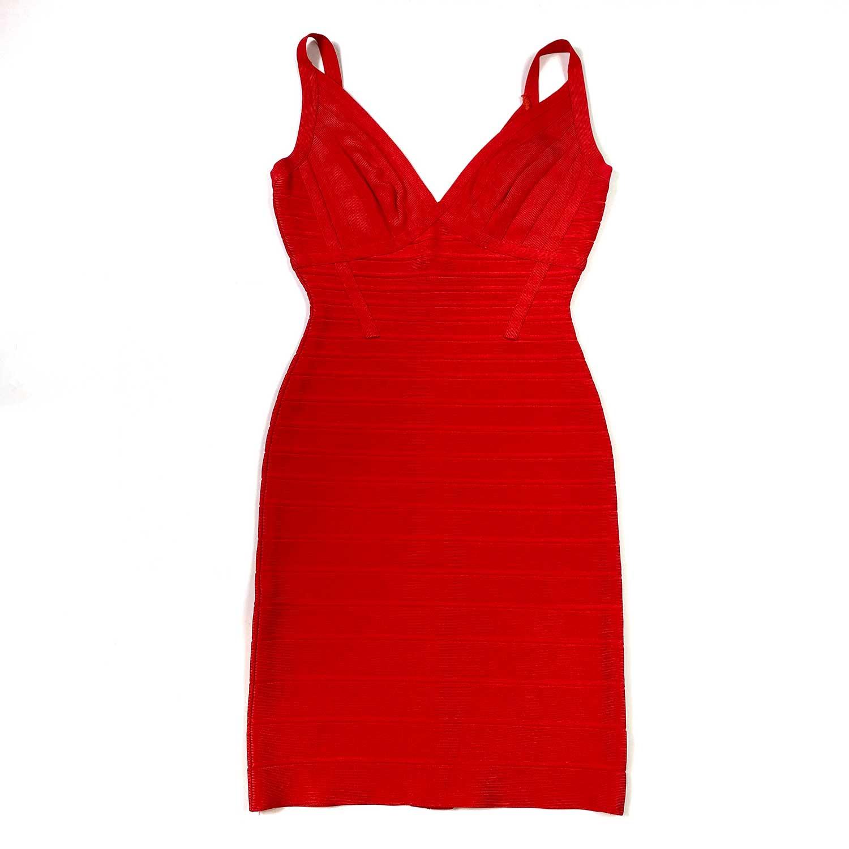 Vestido Herve Leger Bandagem Slim Vermelho