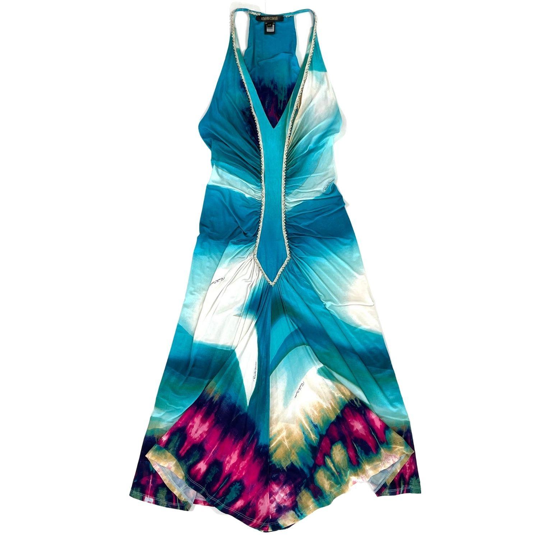 Vestido Roberto Cavalli Azul Estampado