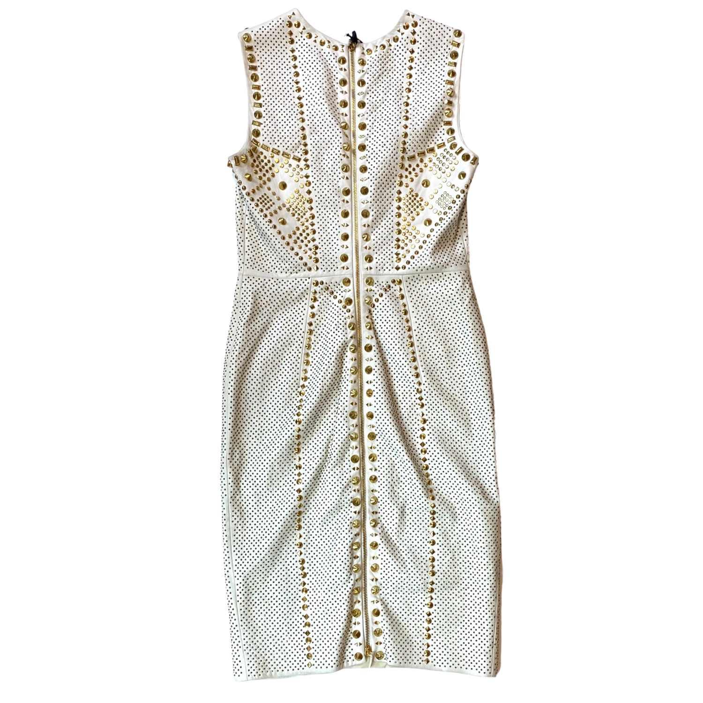 Vestido Versace Studded Branco e Dourado
