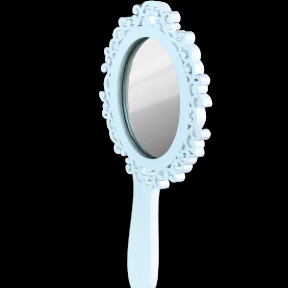 Espelho Laqueado de Mao Forli Branco 17X12cm Casami