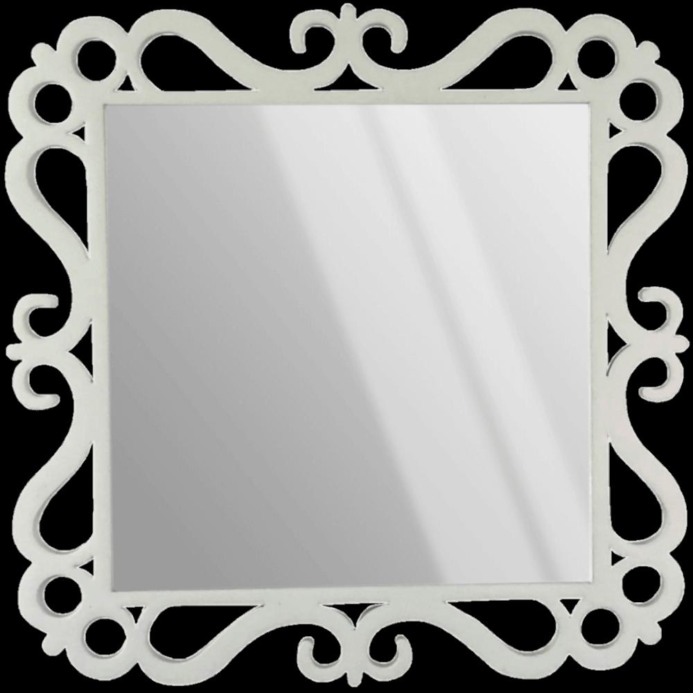 Espelho Laqueado Decorativo Ferrara Branco 20X20cm Casami