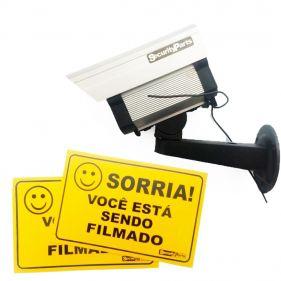 Câmera De Segurança Falsa Fake Com 2 Placas Sorria Você Está Sendo Filmado