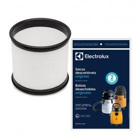 Kit 3 Sacos Descartáveis Aspirador de Pó Electrolux A20 / GT3000 CSE20 70035080 + Filtro Permanente Polipropileno Aspirador H103 65701001I