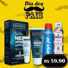 Kit Dia Dos Pais Espuma de Barbear Kings Especial + Tenys Pé Aerosol Original Baruel + Kit Creme Depilatório Íntimo Masculino 95g