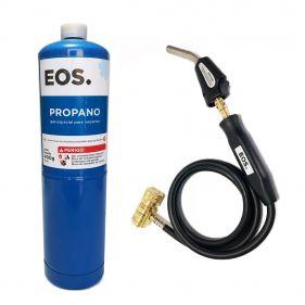 Kit Maçarico Portátil 1,5M EOS-SFT-3 + Cilindro de Gás Propano 400g EOS