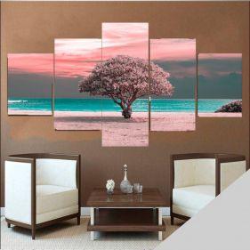 Quadro Arvore primavera mosaico 5 quadros -Cliente Rafael- Retira -FB