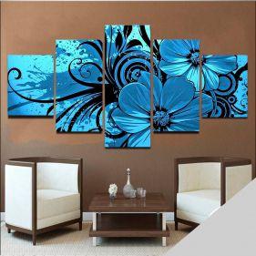 Quadro Floral Mosaico Flores 5 telas Sala Quarto