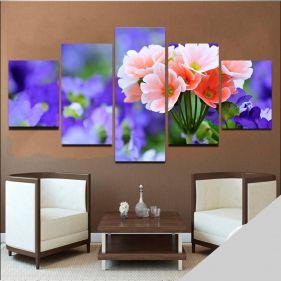 Quadro Flores Mosaico 5 telas Sala Quarto