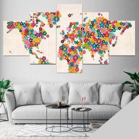 Quadro Mapa Mundi Flores Mosaico 5 Telas Sala Quarto
