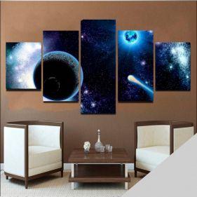 Quadro Planetas Mosaico 5 Telas Sala Quarto