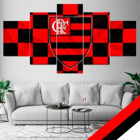 Quadro Time Flamengo Mosaico 5 telas Sala Quarto