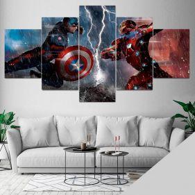 Quadro Vingadores Marvel Guerra Civil Mosaico 5 Telas Sala Quarto