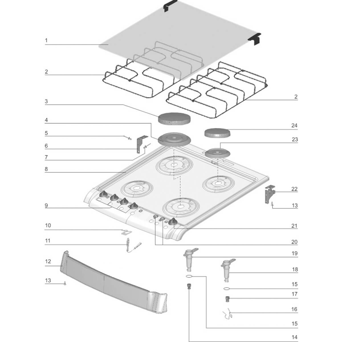Arremate Mesa Chef Para Fogão 4 Bocas Electrolux 52SM - 72610001