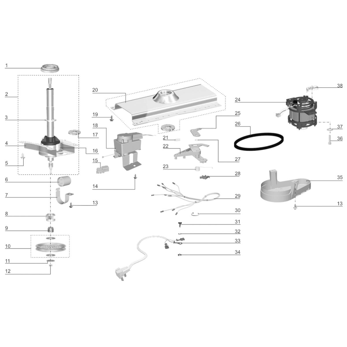 Braço Co-injetado Para Lavadora De Roupas Electrolux EW22 TOP8 LM08 ETL22 - 60016900 / A99405101