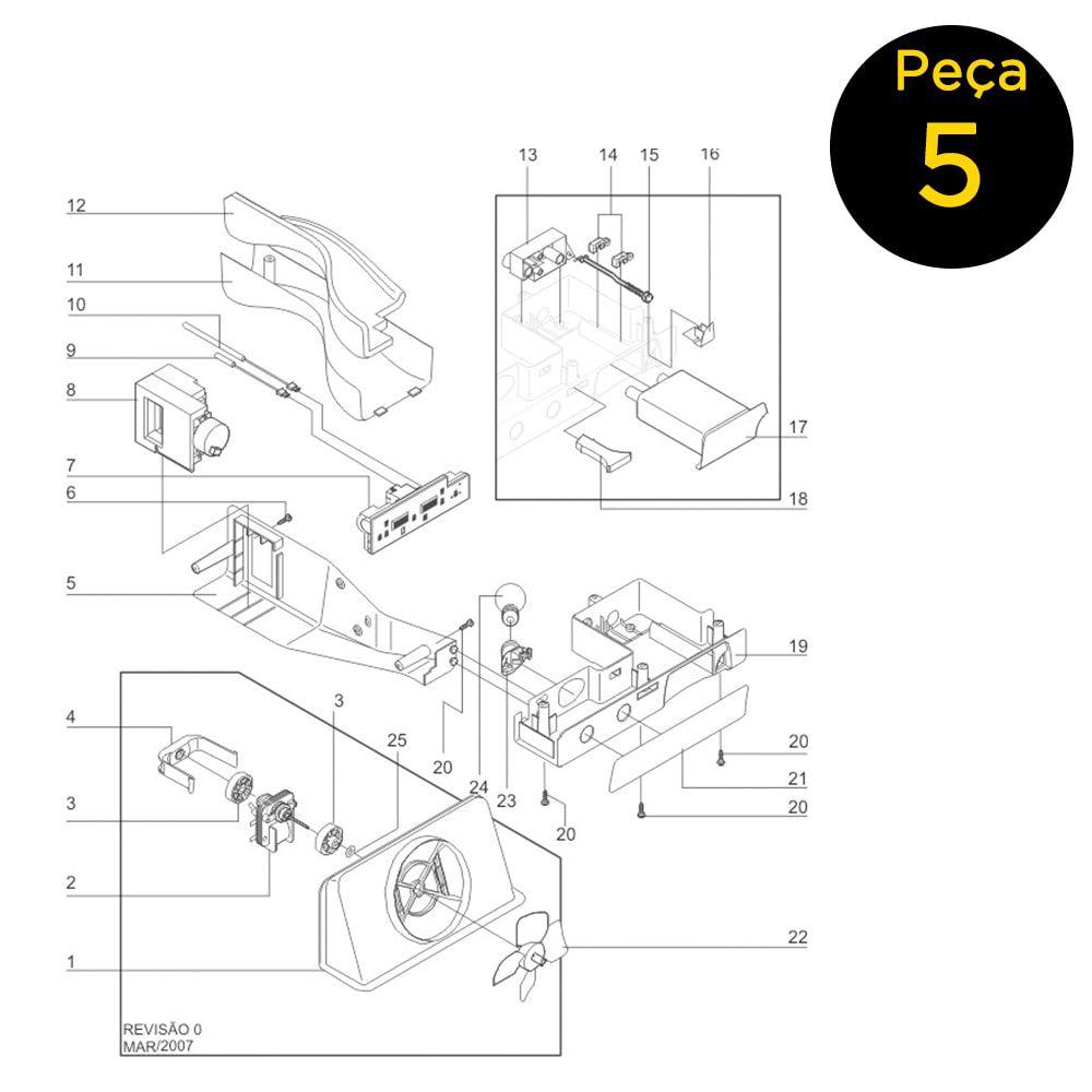 Caixa Traseira De Controles Para Refrigerador Side By Side Electrolux 127v - 41608901