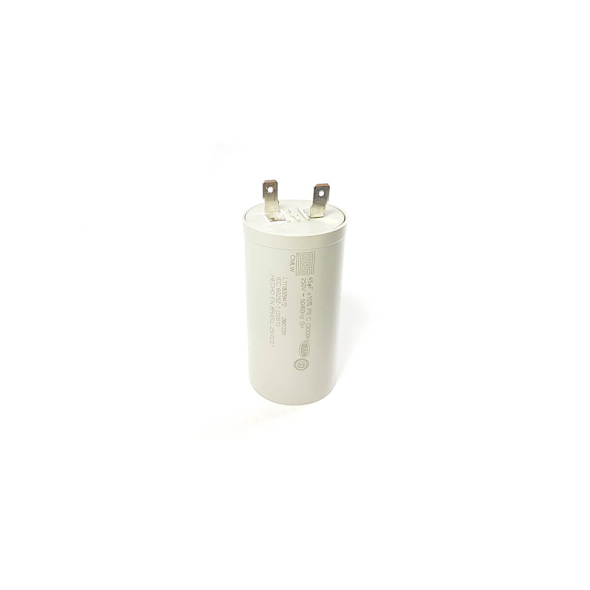 Capacitor Simples WEG 45MF 250V 50/60Hz 40x78mm Para Lavadora de Roupas Brastemp - 326066187